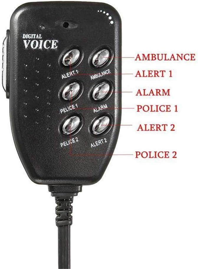 QYLJX Altoparlante Sirena Auto 12V 100W 6 Suono Tono Sirena Auto Corno Veicolo con Microfono Sistema di Altoparlanti PA Amplificatore Suono di Emergenza /è Utilizzato per Auto Camion ECC