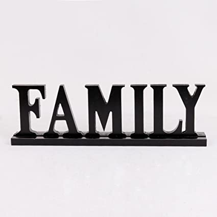 Black Family Sign Tabletop Decor, Distressed Wooden Cutout Word Decor,  Decorative Family Word Art