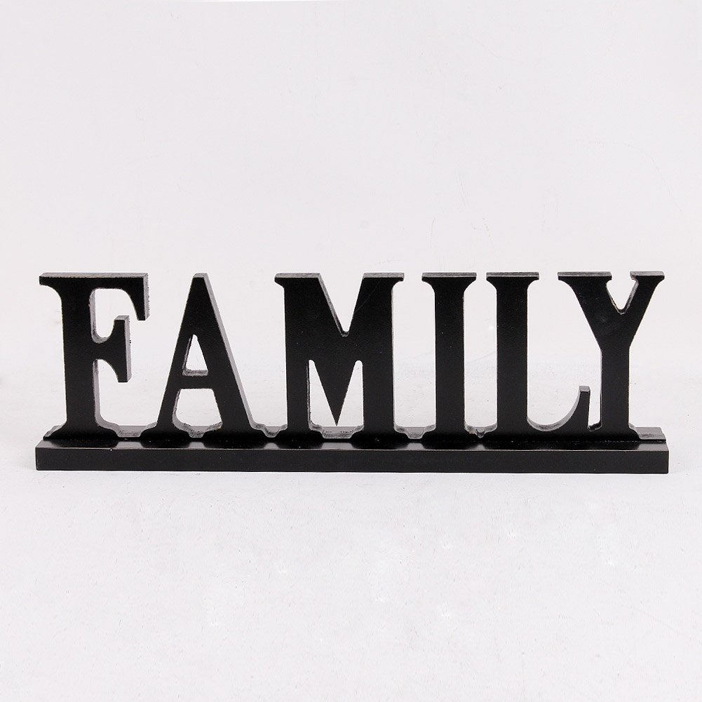 Black Family Sign Tabletop Decor, Distressed Wooden Cutout Word Decor, Decorative Family Word Art Wood Sitter