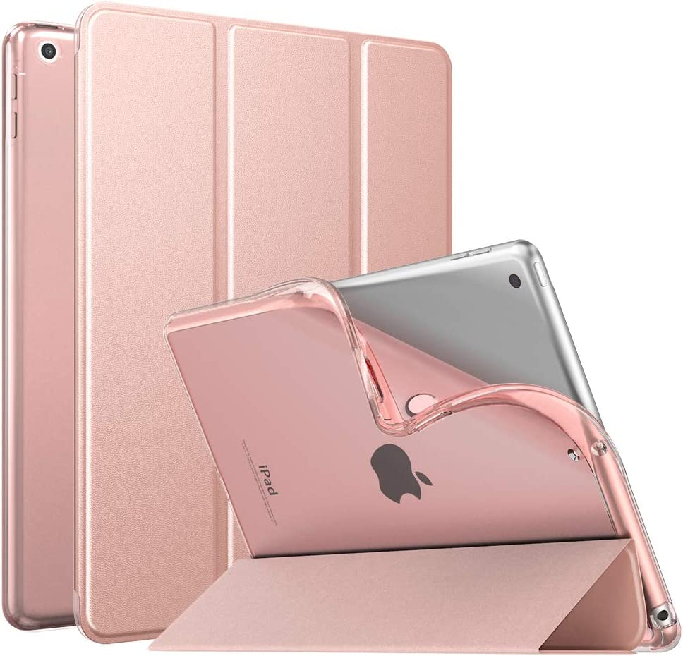 "MoKo Case Fit New iPad 8th Generation 10.2"" 2020 / iPad 7th Gen 2019, iPad 10.2 Case with Stand, Soft TPU Translucent Frosted Back Cover Slim Shell for iPad 10.2 inch, Auto Wake/Sleep,Rose Gold"