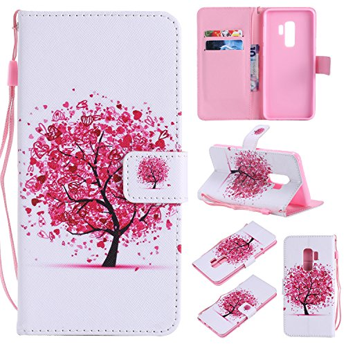 (Ostop Colorful Painted Leather Wallet Case for Samsung Galaxy S9 Plus,[Kickstand Feature] Red Heart Tree Printed White PU Magnetic Flip Cover with Card Slots Wrist Strap Shockproof Shell)