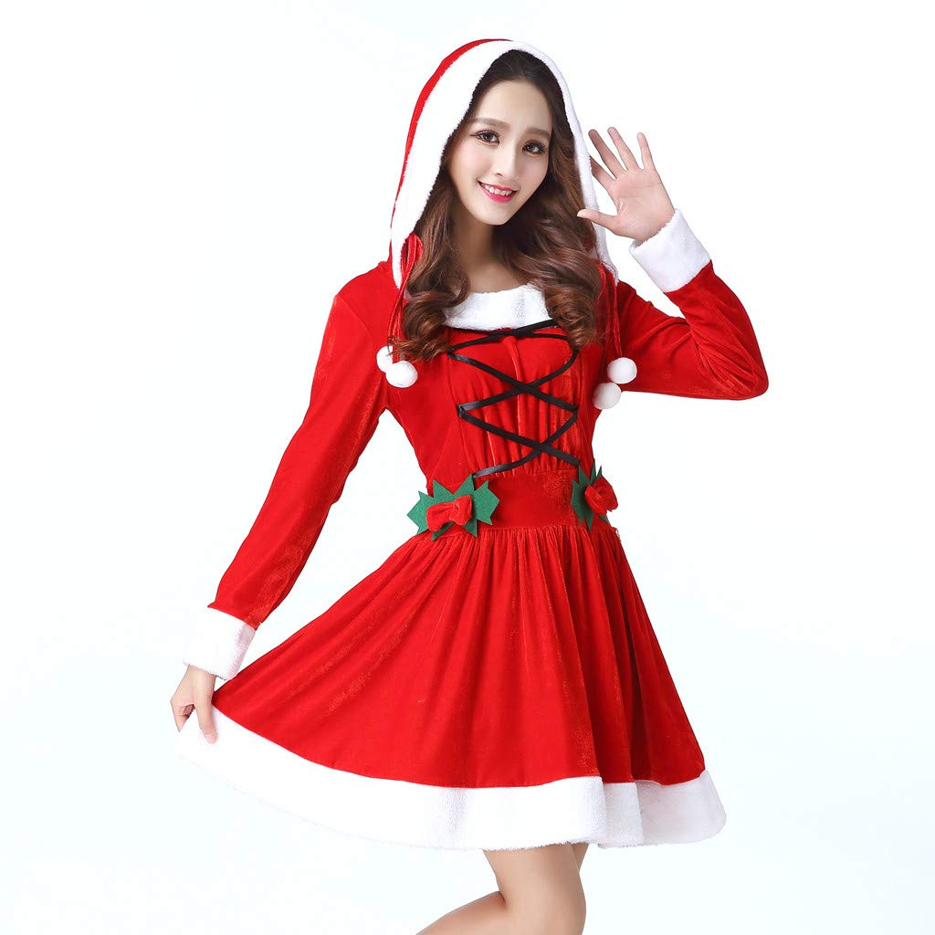 Amazon.com: Midress Christmas Cosplay Santa Suit Sexy Cute Ball Hooded Sexy  Mini Dress,Women Santa Claus Suit Erotic Underwear Lingerie (Red): Garden &  ...