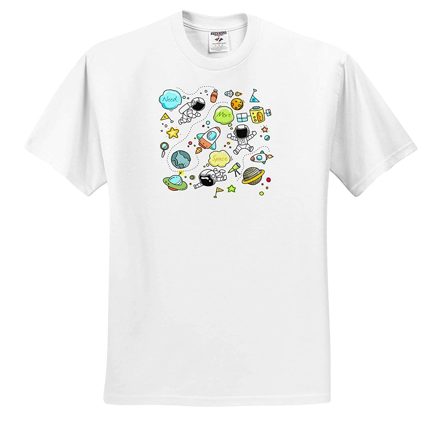 3dRose Alexis Design Adult T-Shirt XL ts/_319160 Text Need More Space Spacecrafts Pattern Space Astronauts Planets
