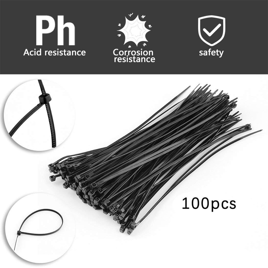WEIHAN 100 unids Pr/áctico 2.2 X 150mm Nylon Cable de Pl/ástico Zip Organizador Fasten Wire Wrap Cord Paquete de Correa Negro