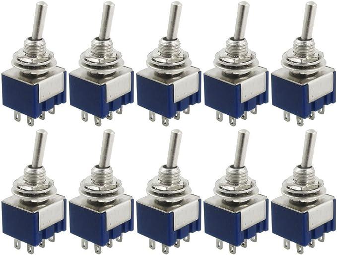 Sodial R 10 Stueck Ac 125v 6a Amps On On 2 Position Dpdt Baumarkt
