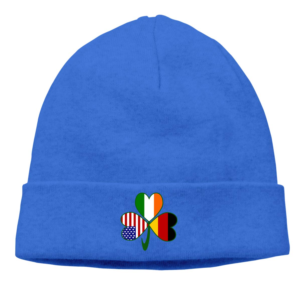 BBlooobow Men Women German Irish USA Flags Shamrock Soft Skull Cap