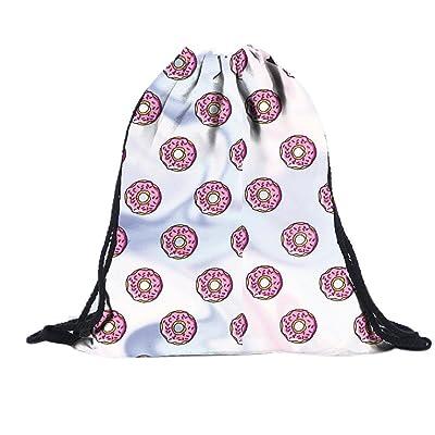Sagton Unisex doughnut 3D Printing Bags Drawstring Backpack