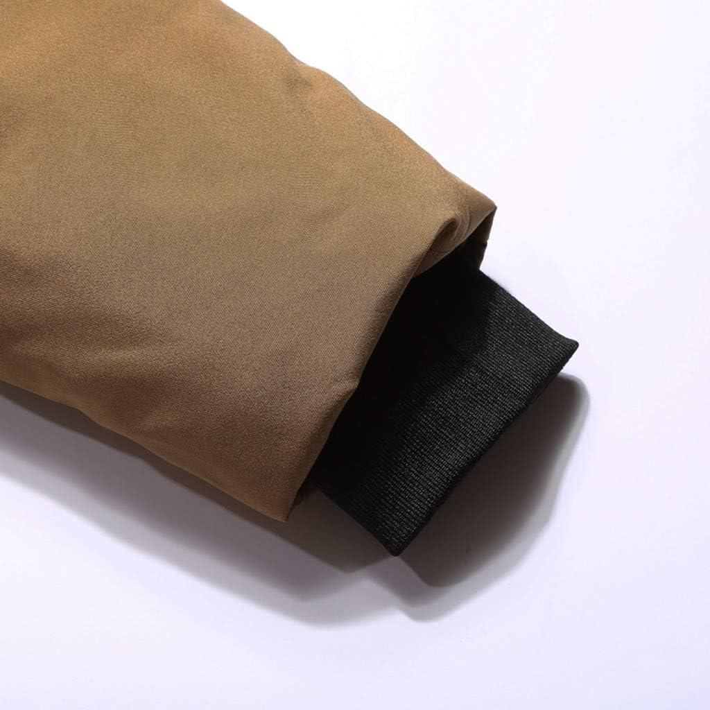 Auifor Herren Winter Mittellanger Kapuzenpullover Patchwork Verdickter gepolsterter Baumwollmantel Kaffee