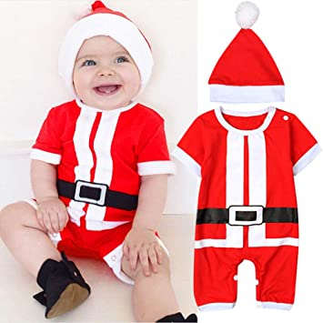 70ed5b354 Amazon.com   Jshuang Christmas Baby Girl Boy Santa Claus Hat Romper ...