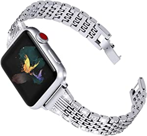 OULUCCI Bling Link Bands Compatible Apple Watch Band 38mm 40mm iWatch Series 6, SE, Series 5, Series 4, Series 3, Series 2, Series 1, Metal Wristband Strap with Diamond Women Girls