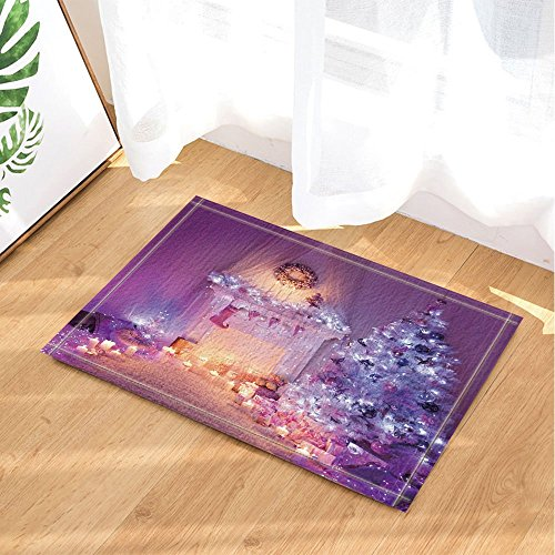 GoEoo Christmas Decor Xmas Tree and Fireplace Full with Lights and Sock Bath Rugs Non-Slip Doormat Floor Entryways Indoor Front Door Mat Kids Bath Mat 15.7x23.6in Bathroom Accessories by GoEoo