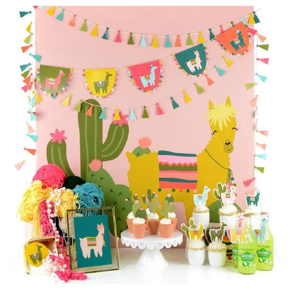 JeVenis 31 Pcs First Birthday Llama and Cactus Cupcake Toppers Alpaca Cupcake Picks Llama Cactus One Cake Topper for Mexican Fiesta Theme Party Baby Shower Birthday Party