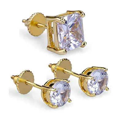 1689ce29e 3 Pairs Set 4-8 mm Zirconia HIP HOP Iced Out Stud Earrings With Screw