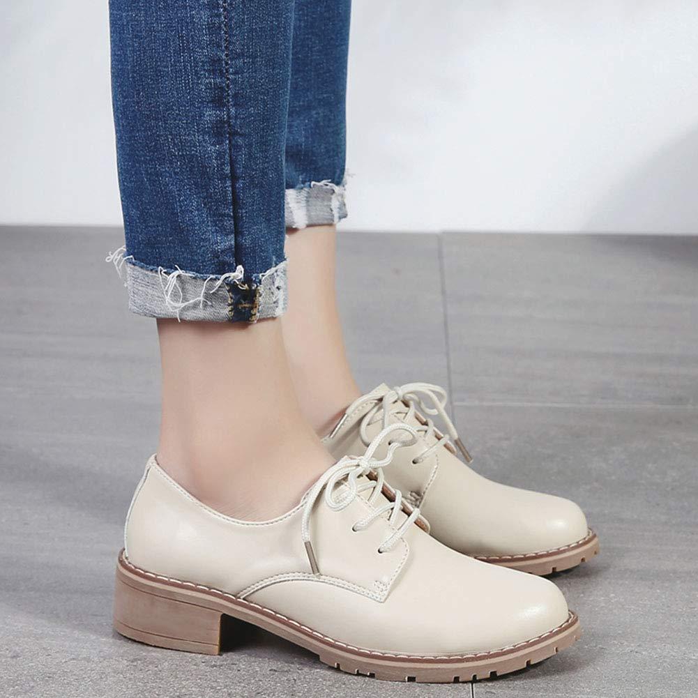 Mujeres de Cuero Oxford Bloqueo bajo los Zapatos de tacón de
