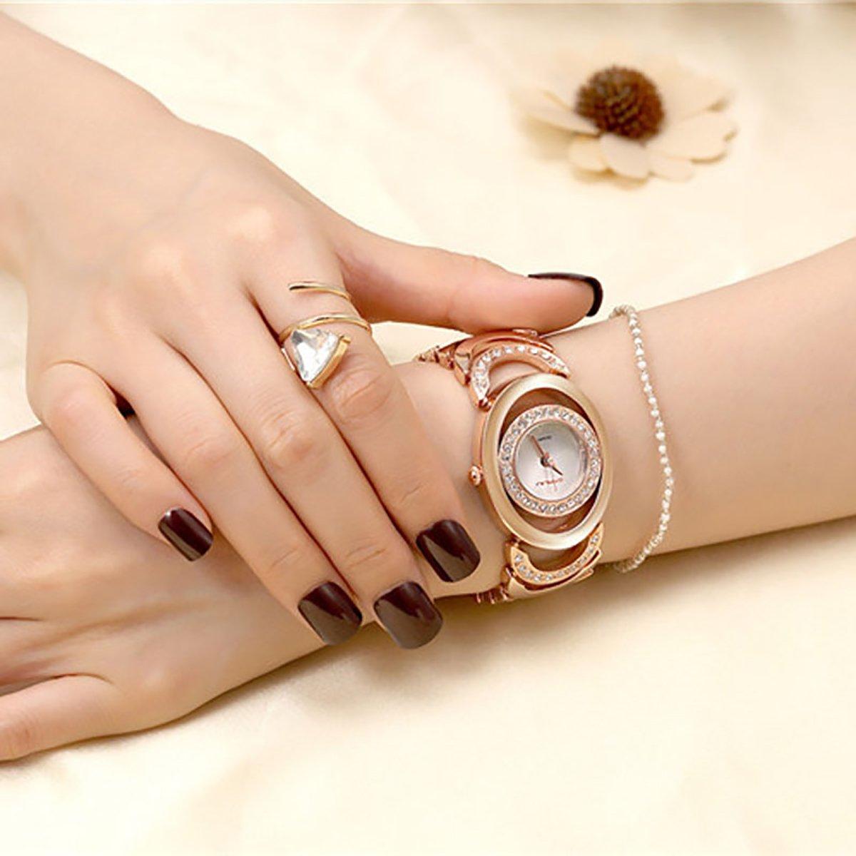 Longqi, orologio al quarzo da donna elegante e di qualità; colore oro Rose Gold