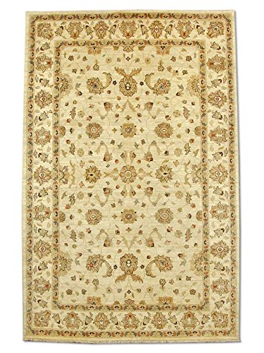 Traditional Persian Chobi Handmade Sultanabad Rug, Wool, Cream, 6' 6
