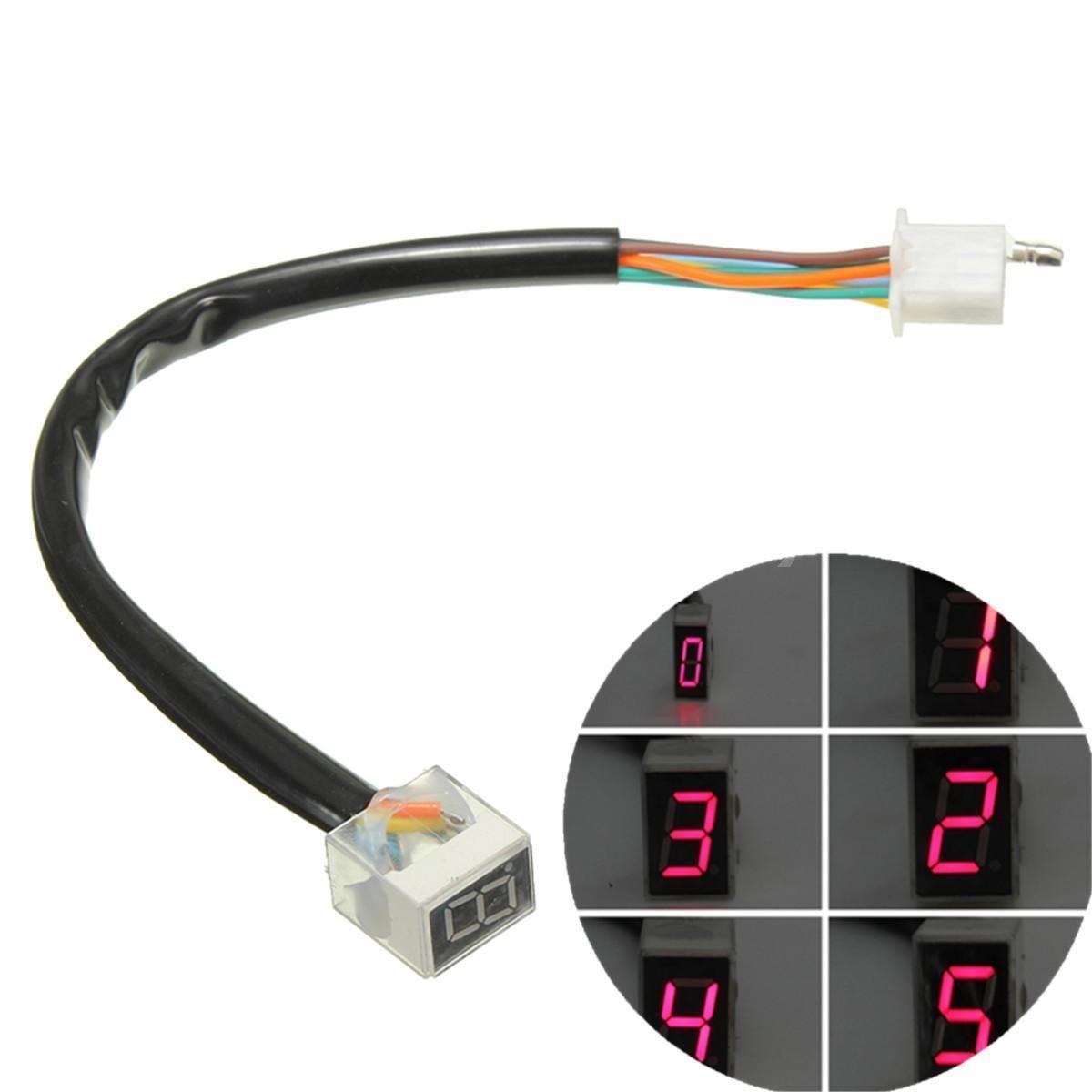 Moppi Rosso LED 6 marce visualizzazione indicatore moto sensore leva del cambio universale digitale freshest Moppi