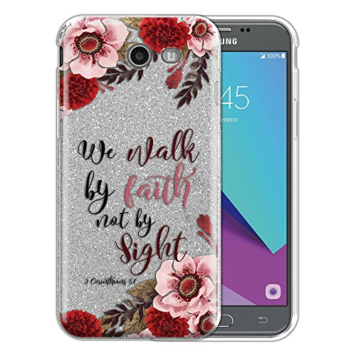 (FINCIBO Case Compatible with Samsung Galaxy J3 Emerge J327 2017, Shiny Silver Glitter TPU Protector Cover Case for Galaxy J3 Emerge (NOT FIT J3 2016, J3 PRO) - Christian Quotes 2 Corinthians 5:7)