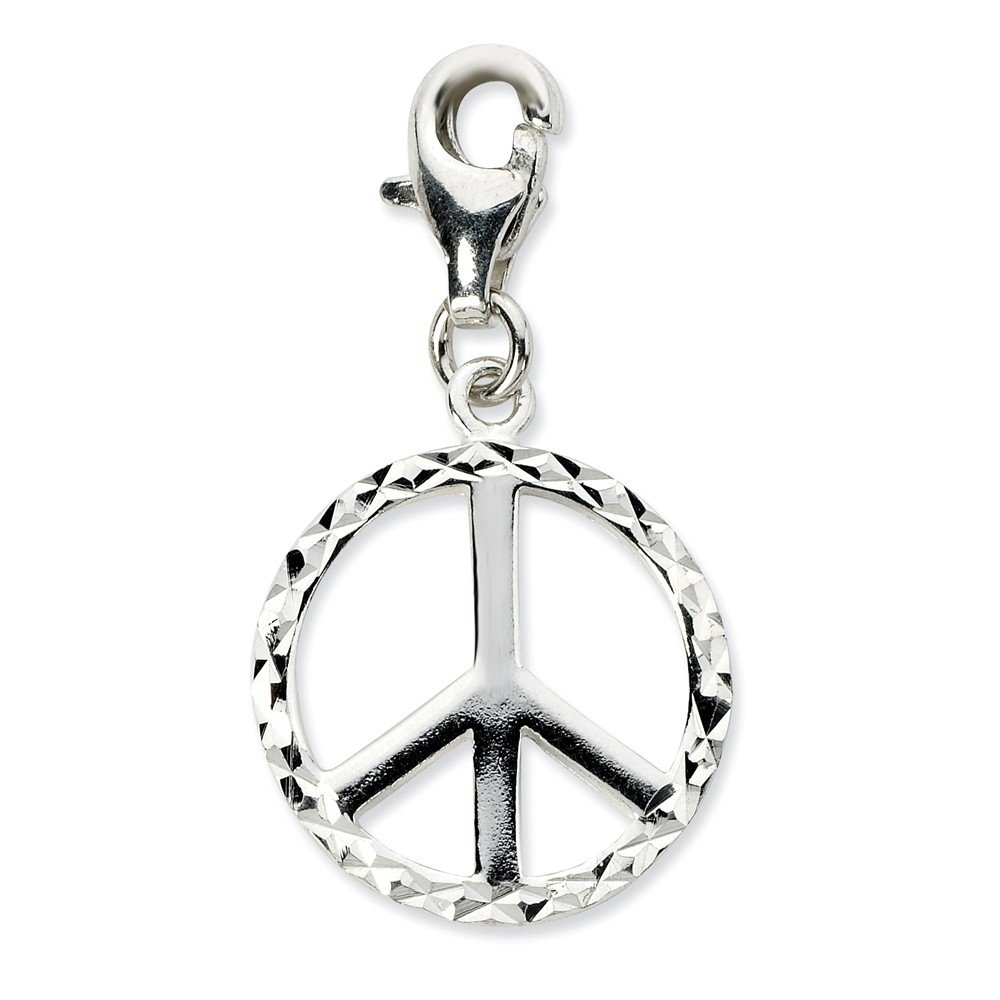 925 Sterling Silver Diamond-cut Peace Sign w//Lobster Clasp Charm