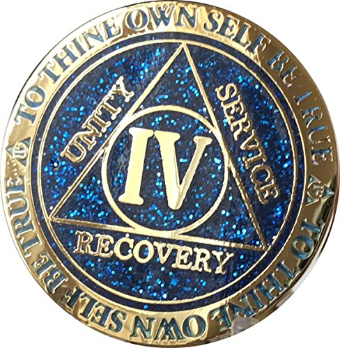 RecoveryChip 4 Year AA Medallion Reflex Blue Glitter Gold Plated Color Chip -