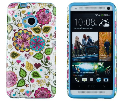 DandyCase 2in1 Hybrid High Impact Hard Colorful Spring Flowers Pattern + Sky Blue Silicone Case Cover For HTC One M7 4G LTE + DandyCase Screen Cleaner
