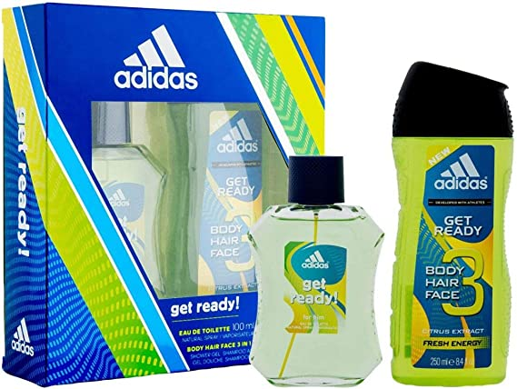ADIDAS GET READY! ESTUCHE COLONIA HOMBRE EAU 100 ML + BODY HAIR FACE 3 IN 1: Amazon.es: Belleza