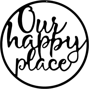 Our Happy Place Metal Wall Sign Metal Wall Hanging Art Outdoor Plaque Wall Decor Sign Lettering Metal Home Sign for Home Living Room, Bedroom, Kitchen, Shop and More