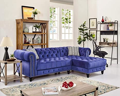 Amazon Com Deisell Blue Contemporary Sectional Sofa Chaise Lounge