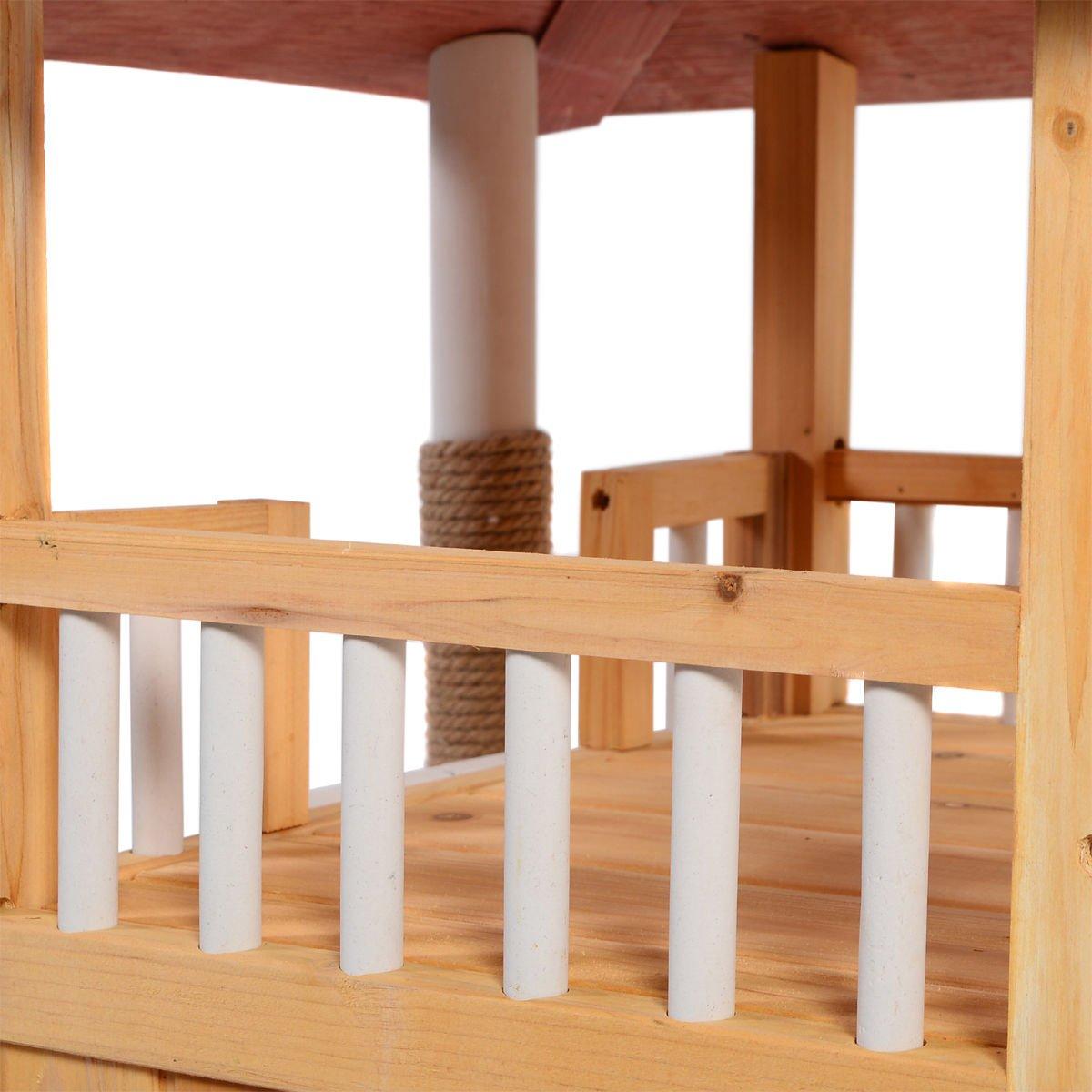 Amazon.com : Indoor Cat House Outdoor Pet Shelter Roof Condo Wood ...
