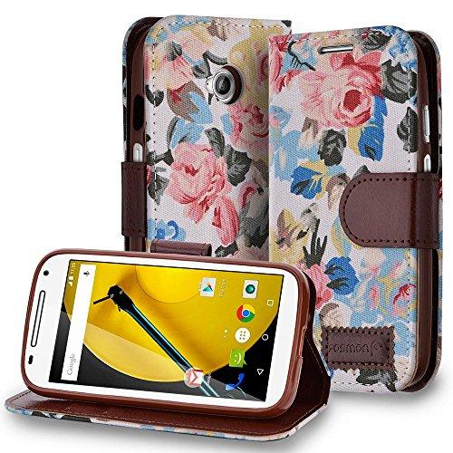 2g Folio Case (Fosmon CADDY FLORA Leather Folio Wallet Stand Case for Motorola Moto E (2nd Gen, 2015) (White))