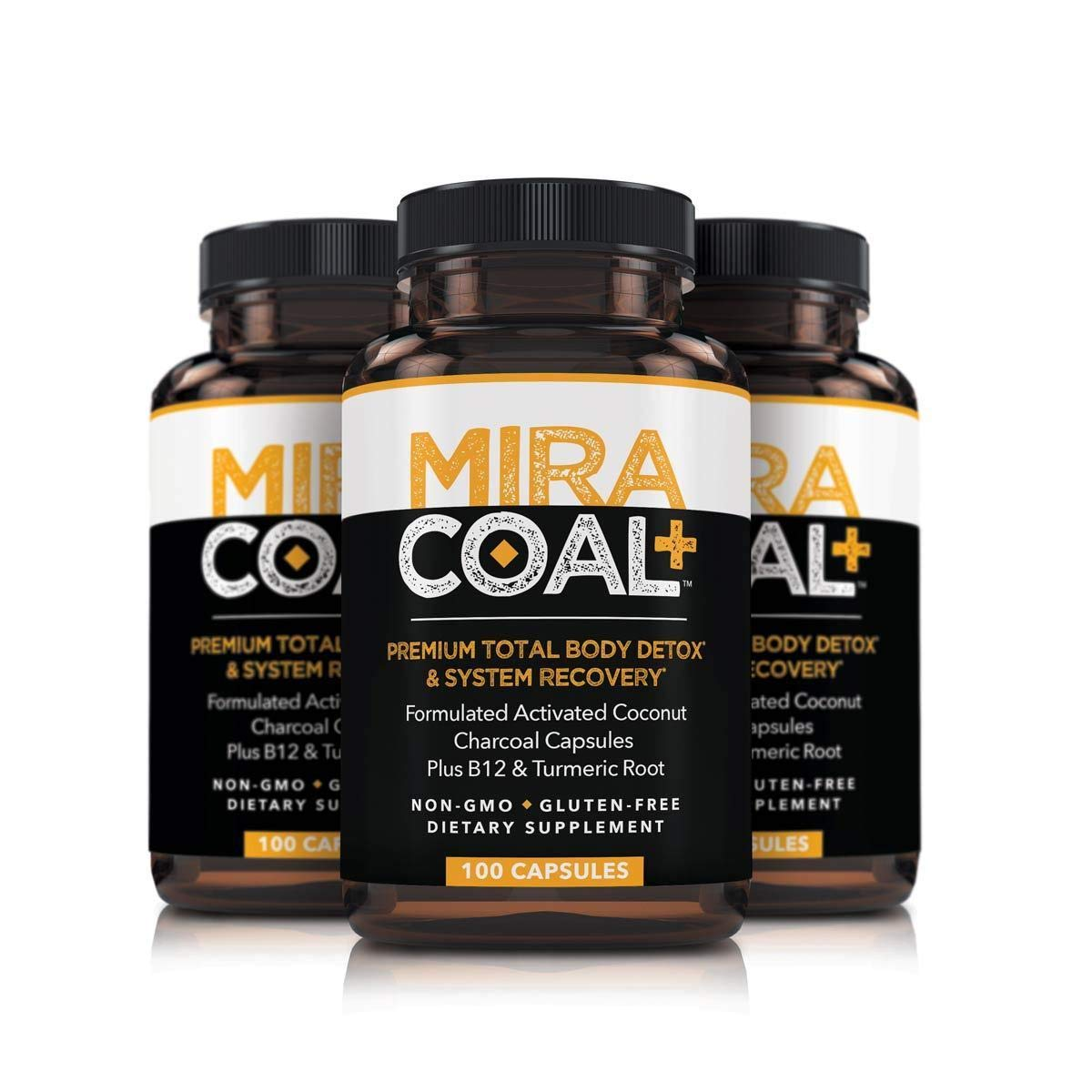 Miracoal Activated Charcoal Capsules for Detox, Weight Loss, Inflammation & Boosted Energy (300 Capsules) | Made with Organic Coconut Charcoal, Turmeric Root and Vitamin B12 | Vegan and Gluten Free