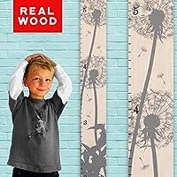 Growth Chart Art | Wooden Growth Chart Ruler for Kids | Height Chart | Baby Shower Gift | Nursery Wall Decor | Gray Dandelion