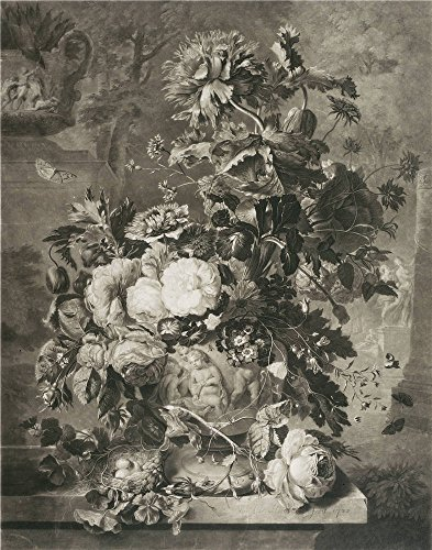 Oil Painting 'Earlom, Richard_1778_Flowers - OG-138644', 20 x 25 inch / 51 x 65 cm , on High Definition HD canvas prints is for Gifts And Bath Room, Dining Room And Garage Decoration, art