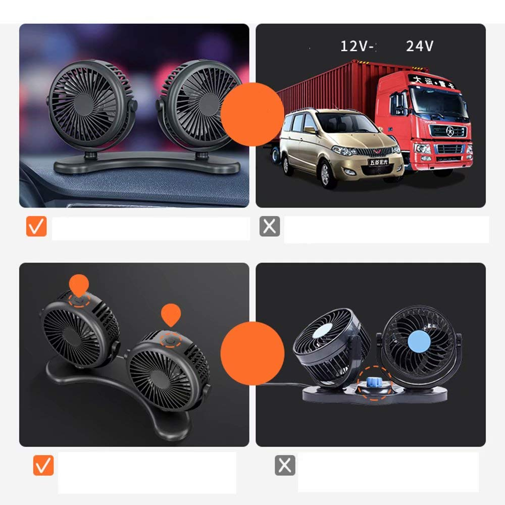Cabezal doble Ventilador para auto Mini ventilador usb Portátil de ...