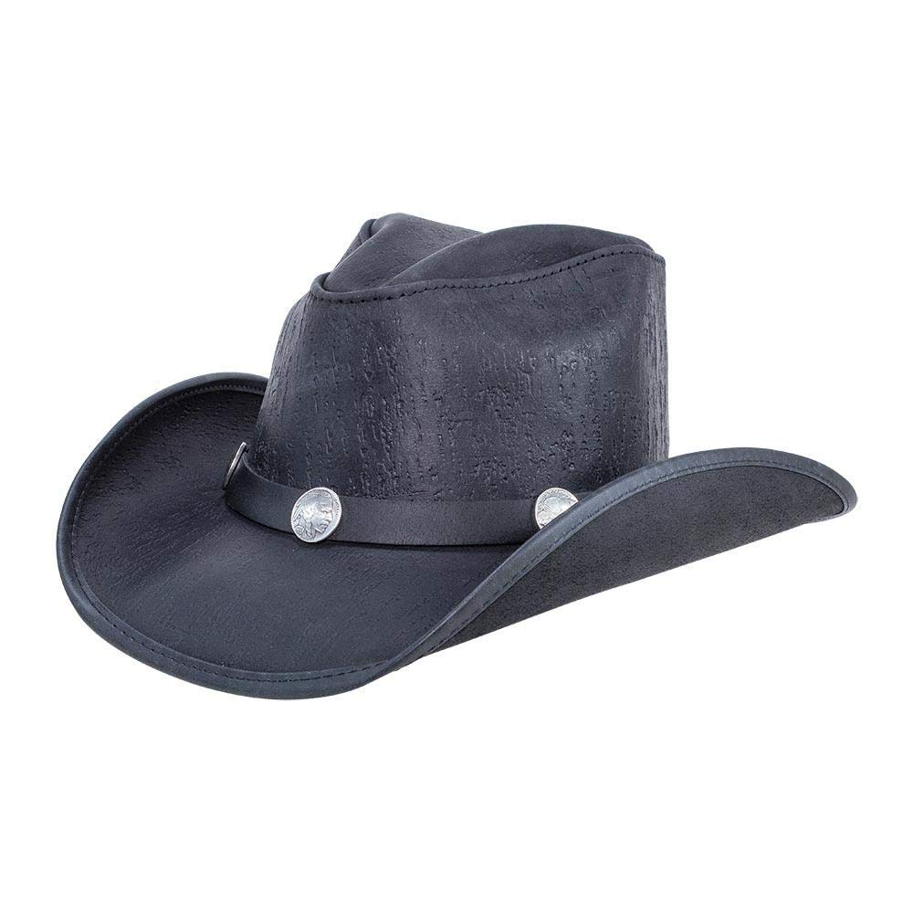 American Hat Makers Cyclone-Buffalo Band by Double G Hats Western Cowboy Leather Hat, Blacktop - X-Large