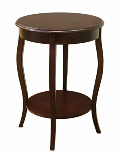Frenchi Home Furnishing Walnut Round Accent Table, 18 Inch