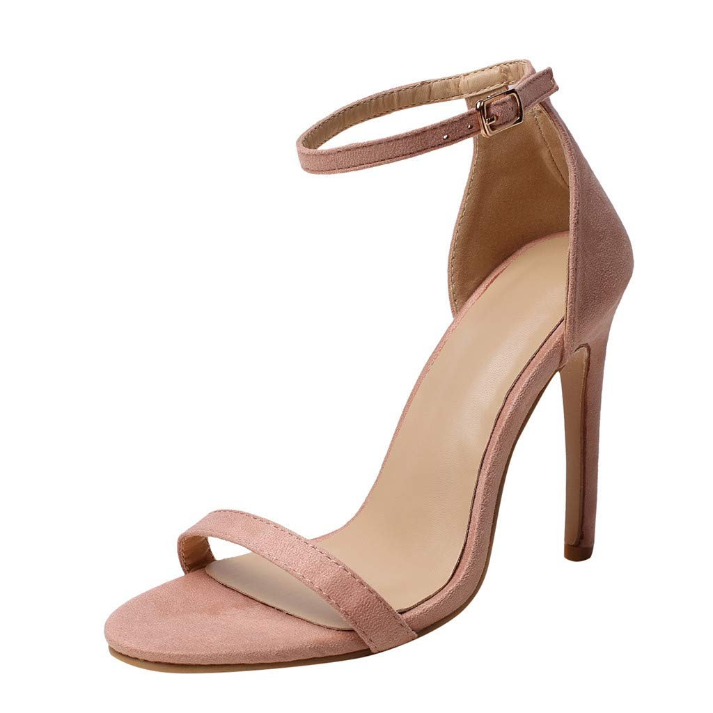 Women's Shoes for Women SYHKS Summer Sexy Women's Ladies High Heels Wedding Party Prom Shoes Evening Sandals Sandles for Women(Pink,39) by Syhks Women's Heels