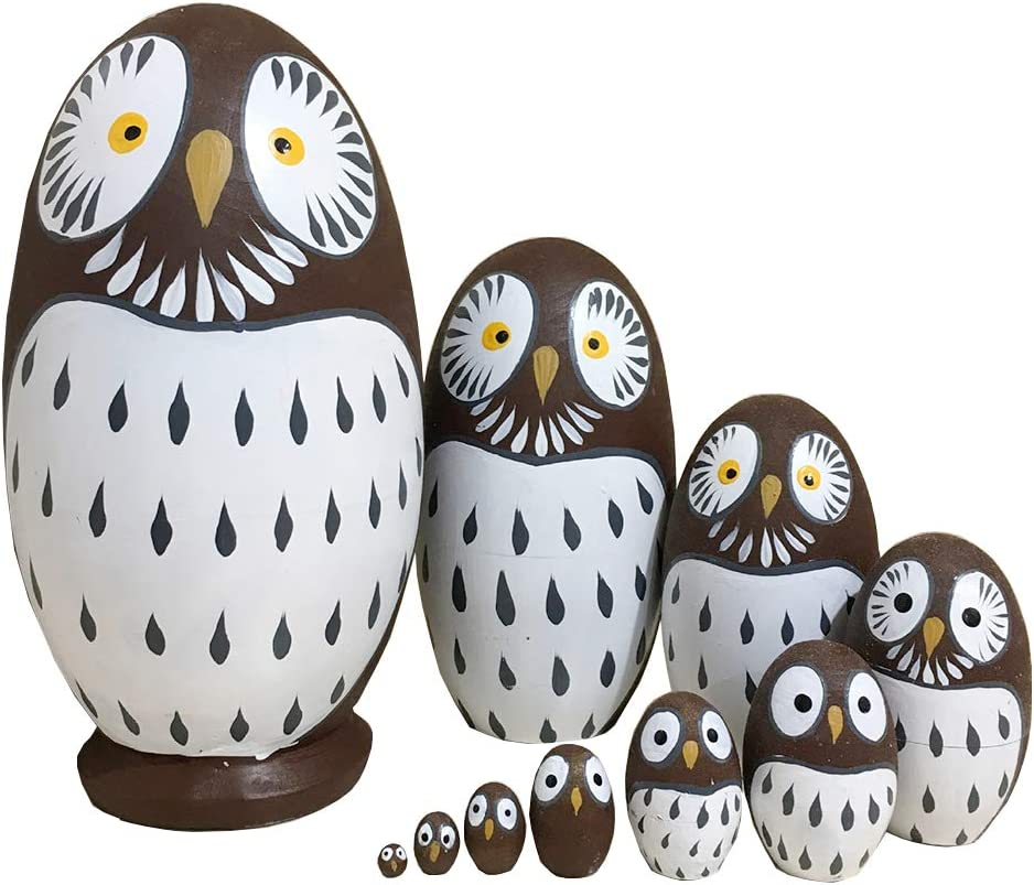 EchoDone 10pcs Handmade Owl Nesting Dolls Authentic Russian Wooden Matryoshka Dolls Cute Russian Animal Nesting Doll Toy Gift