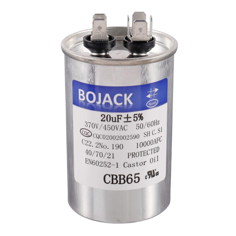 BOJACK 20 uf 370V 450V AC CBB65 Motor and Fan Starting Round Capacitor 20 MFD 10000AFC