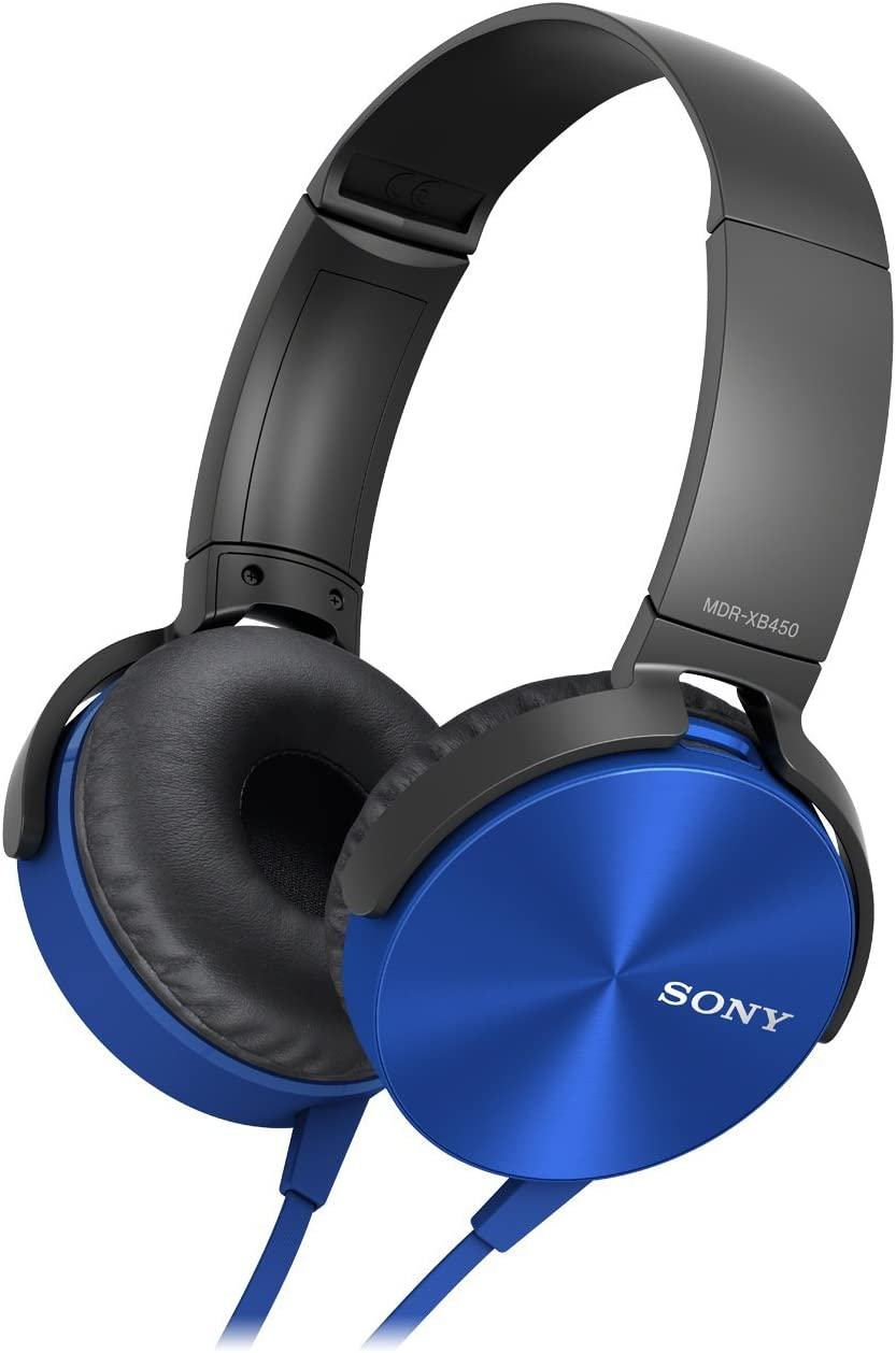 Sony MDR-XB450AP Extra Bass Headphone – Blue International Version U.S. warranty may not apply