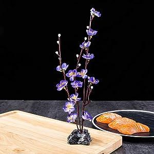 FLORAL CABIN Elegant Artificial Plum Flowers Sushi Sashimi Platter Decoration for Japanese Restaurant Asian Bistro Floral Table Centerpiece,Blue