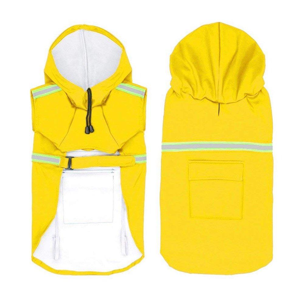 Rocita Hund Regenmantel Freizeit Wasserdicht Leichter Hunde-Mantel Jacke Reflektierende Regenjacke mit Kapuze für Kleine Mittlere Große Hunde (XXL Gelb)