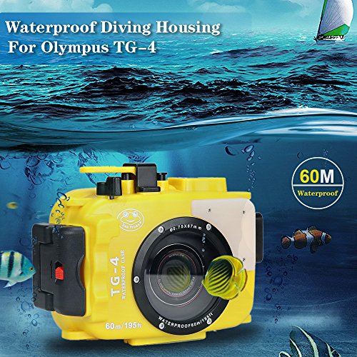 Yellow Housing - Sea frogs 195FT/60M Underwater Camera Waterproof Diving housing Diving for Olympus TG-3/TG-4 Yellow (Housing + Red Filter)
