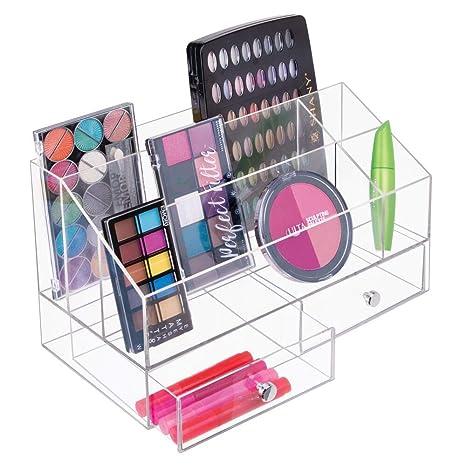 mDesign Organizador de maquillaje – Caja transparente con 5 compartimentos y 2 cajones - Ideal para guardar maquillaje, cosméticos o accesorios para ...