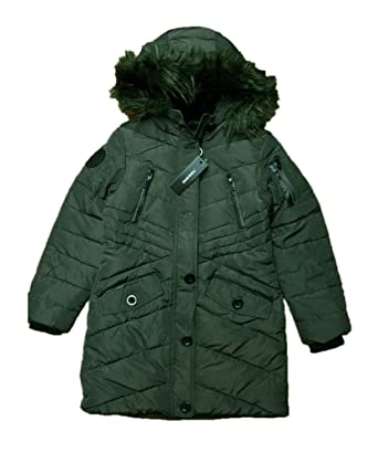 13166bf55 Amazon.com: Diesel Girl's Removable Faux Fur Trim Long Hooded Olive ...