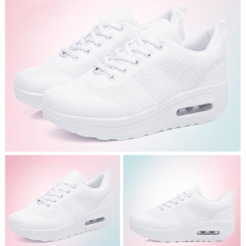 Zapatos para Mujer Cuña Cómodos Mocasines Mesh Plataforma Zapatillas Sneaker Calzado Deportivo de Exterior de Mujer Zapatilla de Deporte Blanco 38 EU: ...