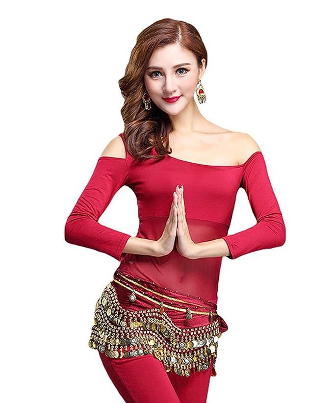 d97621cdcb527 YiJee Women Belly Dancing Tops Shirt Off Shoulder Belly Dance Blouse   Amazon.co.uk  Clothing