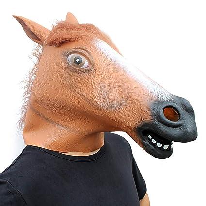 BNMY Máscara De Caballo Unicornio Caballo Negro Caballo Marrón Productos De Látex Un Tamaño Halloween Fiesta