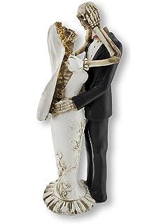 Bride And Groom Skeletons Wedding Statue Cake Topper