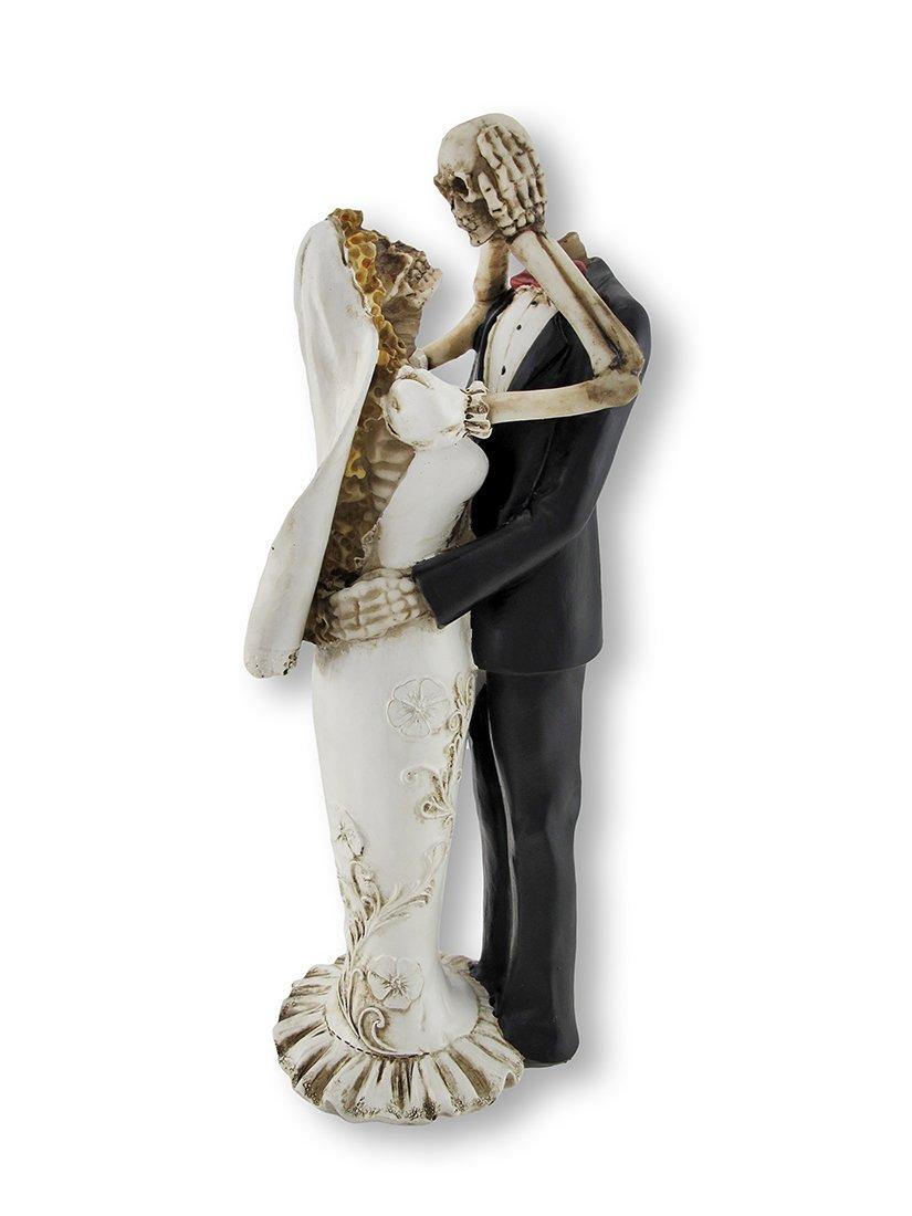 Things2Die4 Bride and Groom Skeletons Wedding Statue Cake Topper